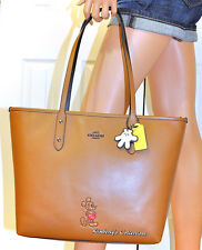 COACH X DISNEY Limited Edition MICKEY MOUSE Leather Tote Bag Purse w/Charms NWT