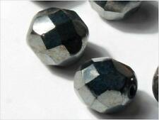 Lot (24) 8 mm Czech vintage faceted silver metallic coated black glass beads