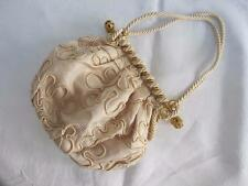 VINTAGE 1950's CREAM FABRIC & SOUTACHE BRAID GILT FILGREE FRAMED PURSE BAG