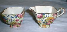 ROYAL WINTON GRIMWADES SUMMERTIME CHINTZ CREAMER AND SUGAR ASCOT SHAPE