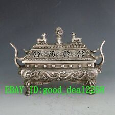 Collectible Decorated Old Handwork Tibet Silver Big Tower Dragon Incense Burner