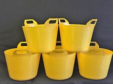 Flexible Bucket Yellow (X 5) 42L Flexi Buckets /Heavy duty/Gorilla Tub/Rhino Tub