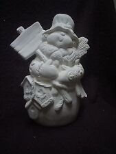 """E172 - 9"""" Ceramic Bisque Snowman Holding Sign with Birdhouses - Ready to Paint"""