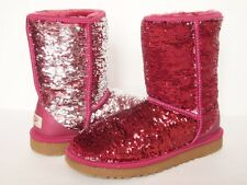 UGG AUSTRALIA Classic Short FLIP Sparkles Boots WOMEN 7 PINK SILVER Sequin Shiny