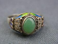 schöner alter Ring Silber China Emaille Aventurin ca 40er Jahre