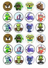 24 MONSTER MONSTERS CUPCAKE TOPPERS ICED ICING FAIRY CAKE