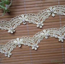1 yd Vintage Flower Polyester Pearl Lace Edge Trim Ribbon Appliques Sewing Craft