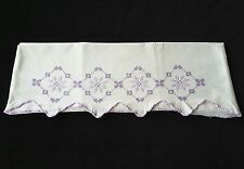 Vintage Embroidered Cross Stitch Purple Pillowcase with Trim