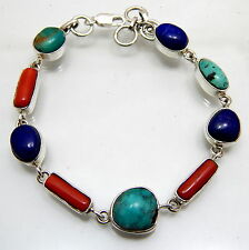 Solid 925 Sterling Silver Turquoise Lapis Coral Handmade Jewelry Bracelet 13 Gm