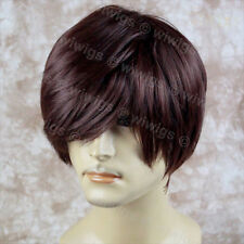 Classic Layered Long Bangs Man Wig Short Dark Auburn Men's Full Wig FROM WIWIGS