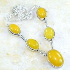 "Handmade Yellow Agate Jasper Gemstone 925 Sterling Silver Necklace 19"" #E24314"