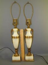 ANTIQUE PAIR ONYX FRENCH BRONZE ORMOLU NEO CLASSICAL URN TABLE LAMPS