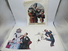 Lot of 3 Vintage Norman Rockwell Art Prints - Christmas Trio, Couple at Midnight