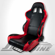 TYPE-4 FULL RECLINABLE RACING SEAT DIVER SIDE LEATHER BLACK / RED - UNIVERSAL
