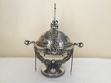 Antique Victorian Silver Plated Butter/Caviar Dish Dome with Catcher - USA