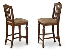 SET OF 2 KITCHEN COUNTER HEIGHT CHAIRS WITH MICROFIBER UPHOLSTERED IN MAHOGANY