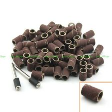 "100PC 1/4"" Grit 180# Sand Drum Sanding Bands W/ 2 Mandrel 1/8"" Shank Rotary Tool"