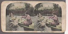 Fisherman falling out of boat c. 1910 funny stereo photo