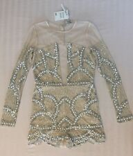 ❤ASOS❤ SOLD OUT BNWT Blush Embellished Romper 6 Nude Mesh Glamorous