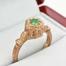Vintage .25ctw Genuine Emerald 14k Rose Gold & Sterling Silver Solitaire Ring