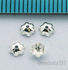 20 x BRIGHT STERLING SILVER SHELL BEAD CAP 3.4mm SPACER BEAD J027