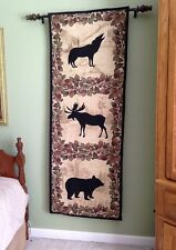 Moose Bear Wolf Black Silhouette Lodge Cabin Rustic Tapestry Wall Hanging NEW