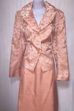 J. ROSE WOMENS PEACH SHIMMER BUSINESS SKIRT SUIT SIZE 14