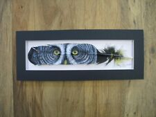 Great Grey Owl Eyes - Russ Abbott Hand Painted Feather - COMMISSIONED