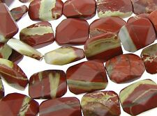 """15.5"""" STRIPED RED JASPER 15X20mm Faceted Rectangles"""