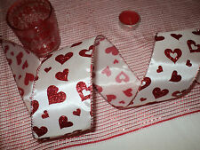 Red Glitter Valentine Hearts Wide Wired Ribbon, Bows, Decorative, Crafts 1metre