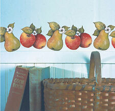 WALLIES FRUIT wall stickers 25 prepasted decals Susan Winget decor apples pears