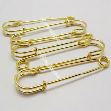 "10 LARGE OVERSIZED METAL 2 1/2 "" RUST Gold SAFETY PINS"