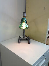 Pixar Blue Insulator Black Pipe Bent Table Lamp Steampunk