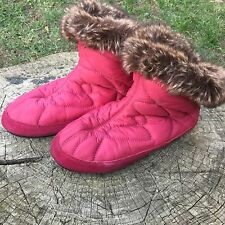 Acorn Slippers Pink Women 5-6 Faux Fur Lined Warm House Camp Shoes Booties Boot
