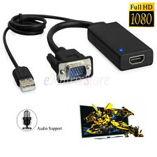 HD 1080P VGA to HDMI & USB Audio Converter Cable Adapter for Laptop PC HDTV DVD