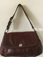 COACH HOBO SHOULDER BAG PLEATED FLAP BAG H:8.5 L:12 BROWN LEATHER PRICE REDUCED