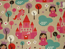 Princess Unicorn Fairy Tale Linen Look Fabric Curtain Upholstery Quilting Crafts
