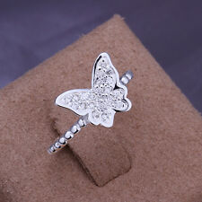 Free shipping wholesale sterling solid silver Inlaid butterfly Ring XLSR207