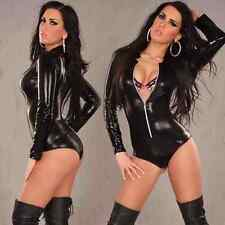 Black Romper spandex bodysuit clubwear PVC wet look party fits 10/12/14