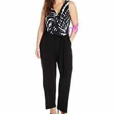NY Collection NEW Black White Gray Sleeveless Printed Jumpsuit Poly Spandex 3X