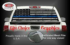 Police Thin Blue Line Flag Rear Window Graphic Decal Sticker Truck Car SUV