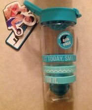 25 oz shaker sports bottle with wearable, inspirational bands~NEW~BPA FREE~Teal