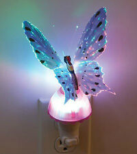 Fiber Optic Butterfly LED Color Change Night Light Lamp - Pink