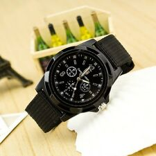 New Men Wrist Watch Steel Stainless Quartz Analog Dial Leather Fabric Digital GT