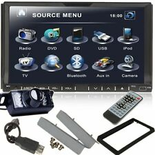 Free Camera+Double Din Car CD DVD Player Radio RDS Bluetooth USB SD USB iPo