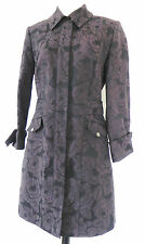 New Eccoci Coat Full Zippered Knee Length Size 6 Purple and Black Jacquard