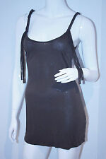 FOREVER 21 XXI Braided Straps FRINGED Brown RAYON Open Back TANK Top XS