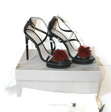 £695 NEW Jason Wu Esme Black RedFeather Sandal 39.5 uk 6.5