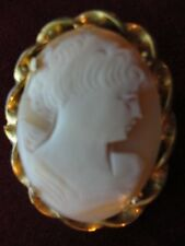 Victorian Cameo Brooch Gold tone Metal Twisted Frame Carved Cameo Shell Vintage