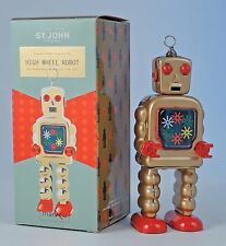 Saint John Tin Metal Retro Toy High Wheel Robot Ornament 14.5cm SJ020038 Boxed